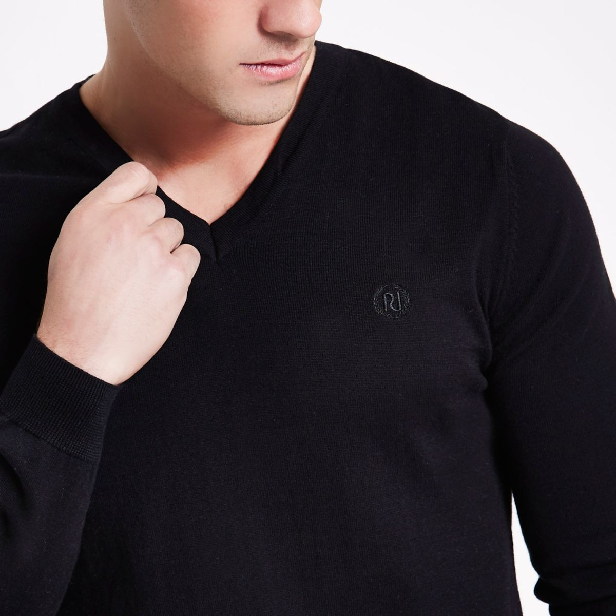 Black fit neck slim jumper V FPq1nF