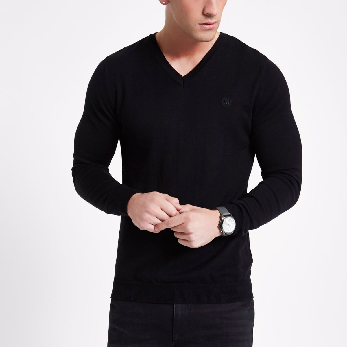 Black slim fit V neck jumper
