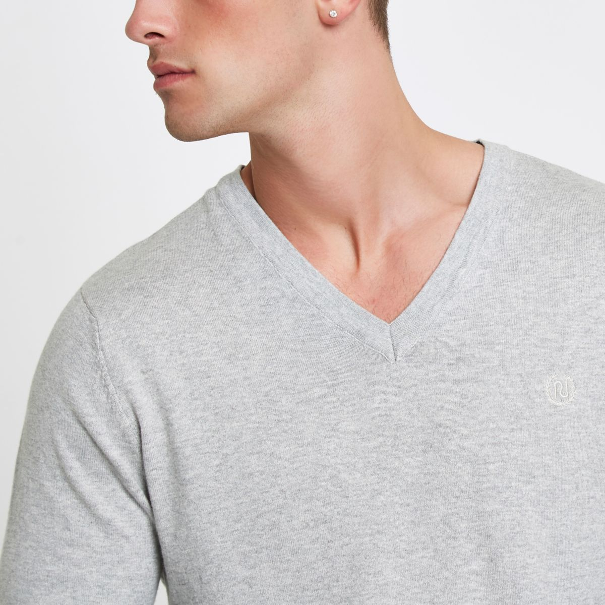 neck Grey marl V slim jumper fit T4IU4r