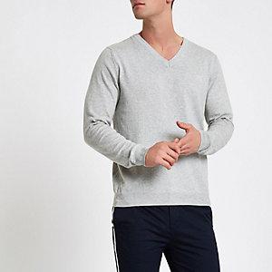 Grijze gemêleerde slim-fit pullover met V-hals