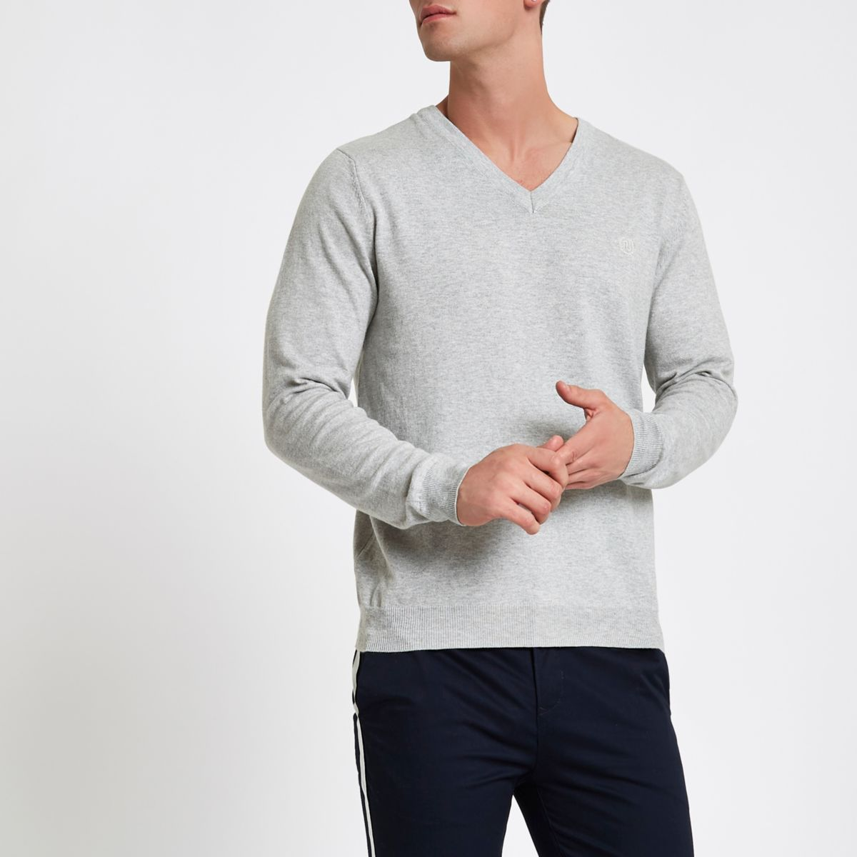 Grey marl slim fit V neck jumper