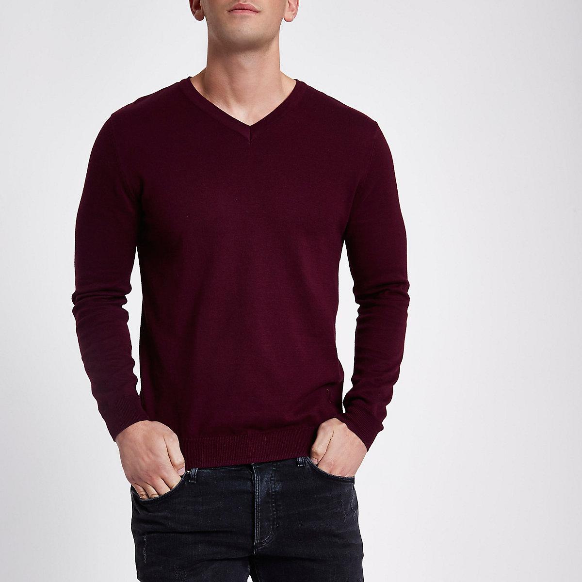 Burgundy slim fit V neck jumper