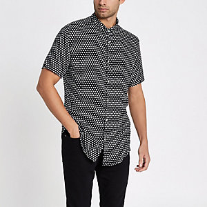 Black ditsy print slim fit short sleeve shirt