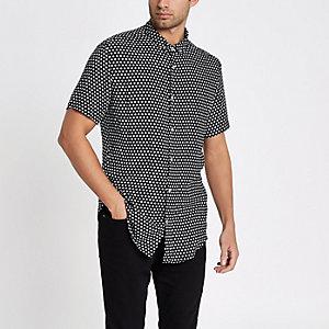 Zwart slim-fit overhemd met bloemenprint en korte mouwen