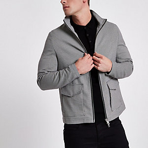 Grey puppytooth check harrington jacket