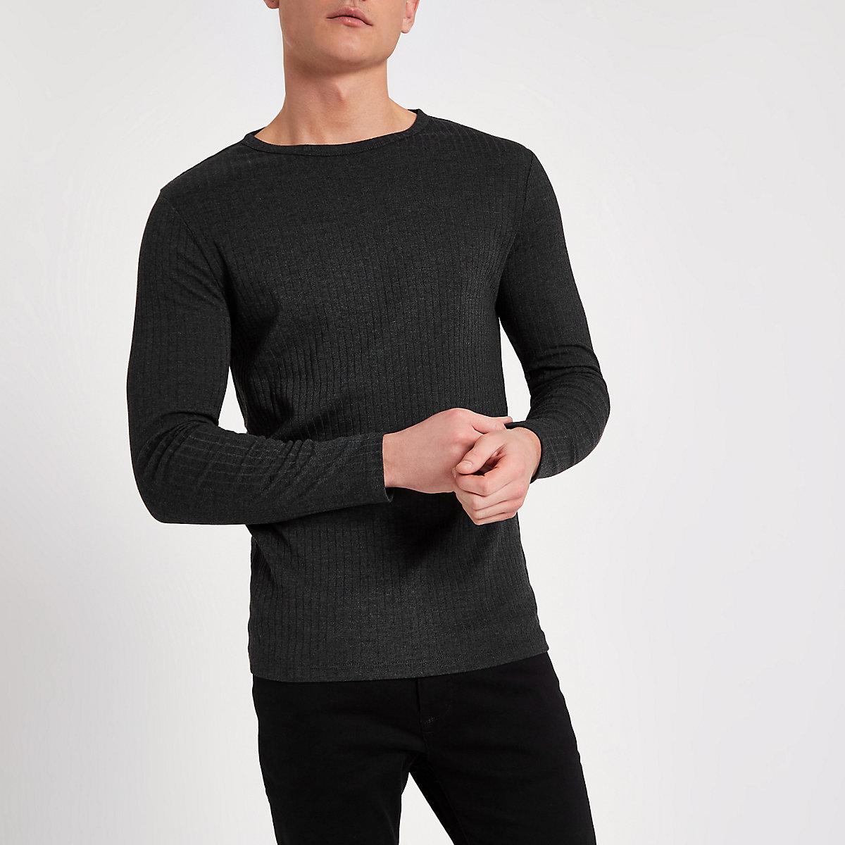 Dunkelgraues Slim Fit T-Shirt mit langen Ärmeln