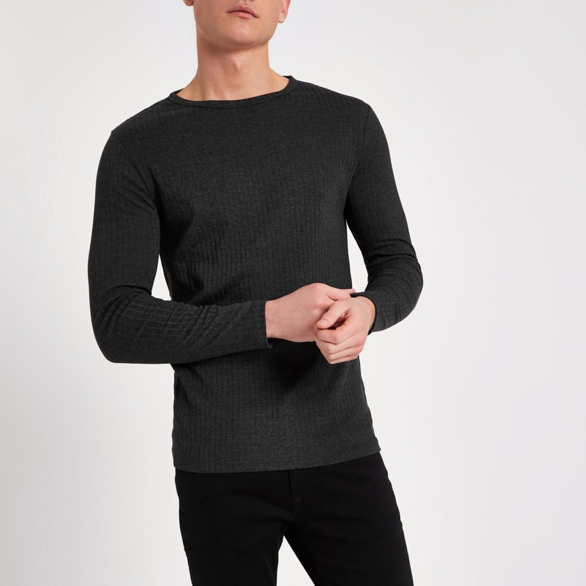 Dark grey rib slim fit long sleeve T-shirt