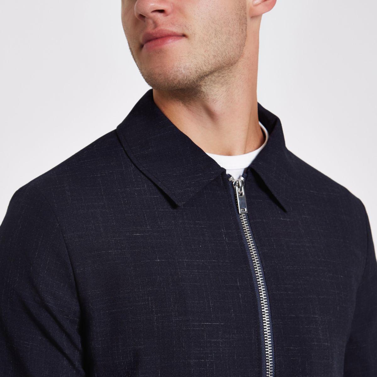 Navy check slub harrington jacket