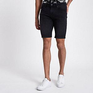 Ollie – Short super skinny noir délavé irrégulièrement