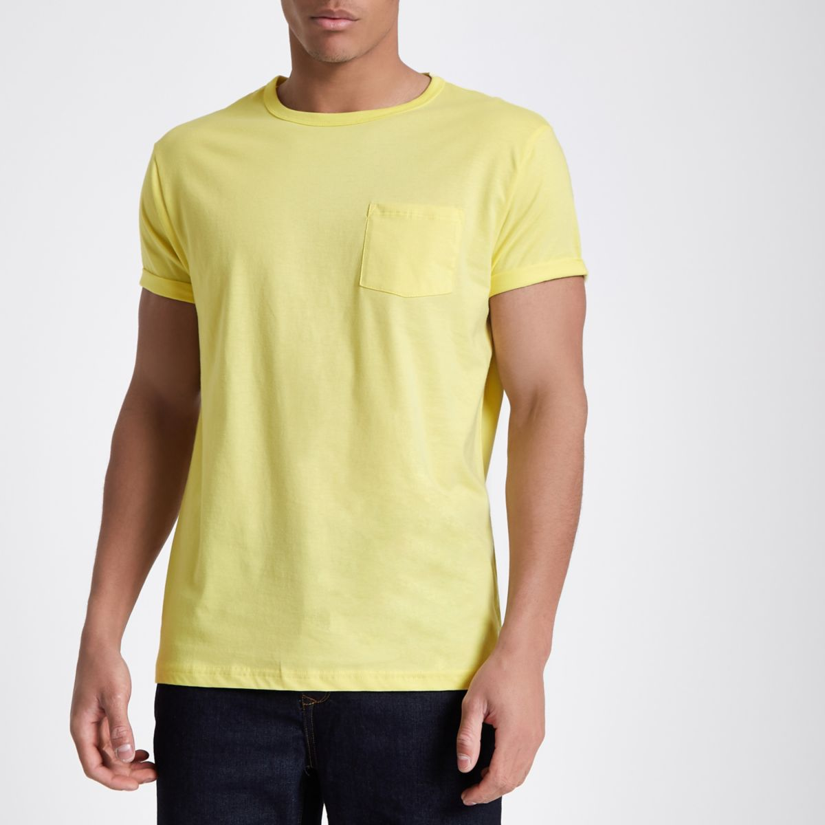 Yellow rolled sleeve pocket T-shirt