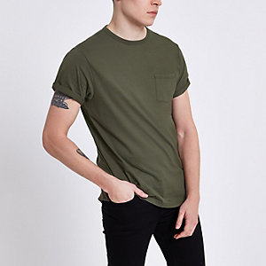 Khaki rolled sleeve pocket T-shirt