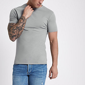 Graues, kurzärmliges Muscle Fit T-Shirt