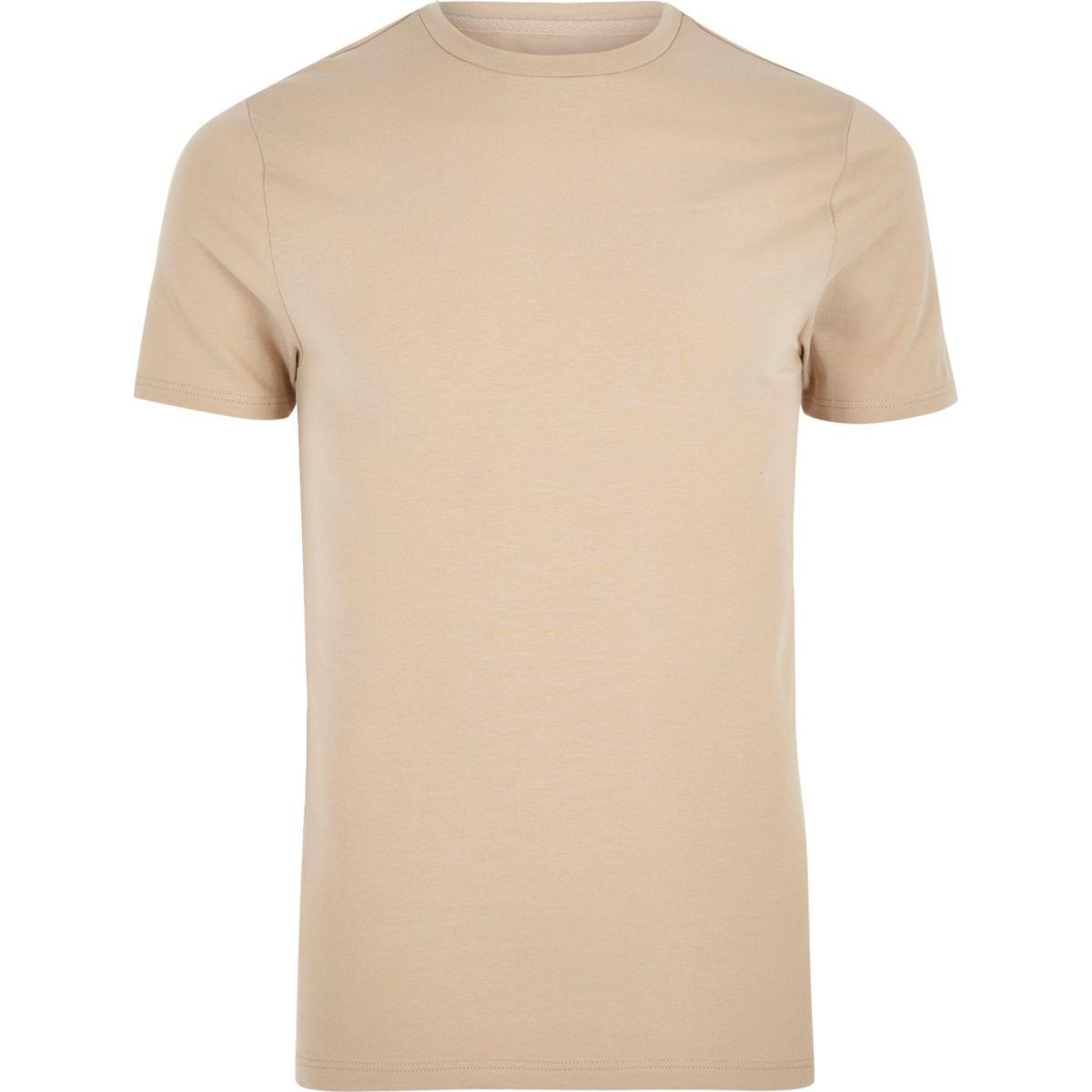 neck T shirt crew fit brown muscle Light qw0ITUn