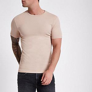 Hellbraunes Muscle Fit T-Shirt mit Rundhalsausschnitt