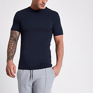 Navy muscle fit crew neck T-shirt