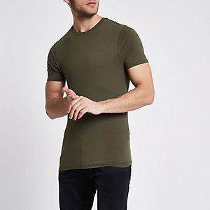Kaki aansluitend T-shirt met ronde hals