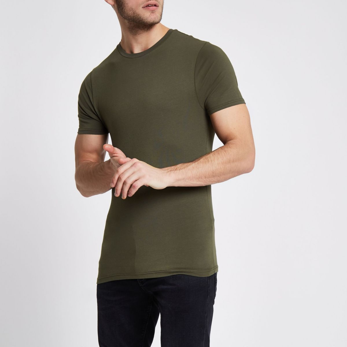 Khaki muscle fit crew neck T-shirt