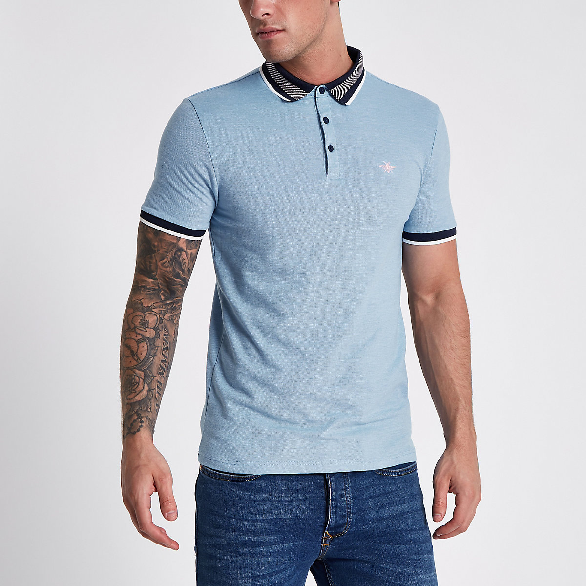 Blue muscle fit wasp embroidery polo shirt