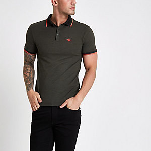 Green muscle fit wasp embroidered polo shirt