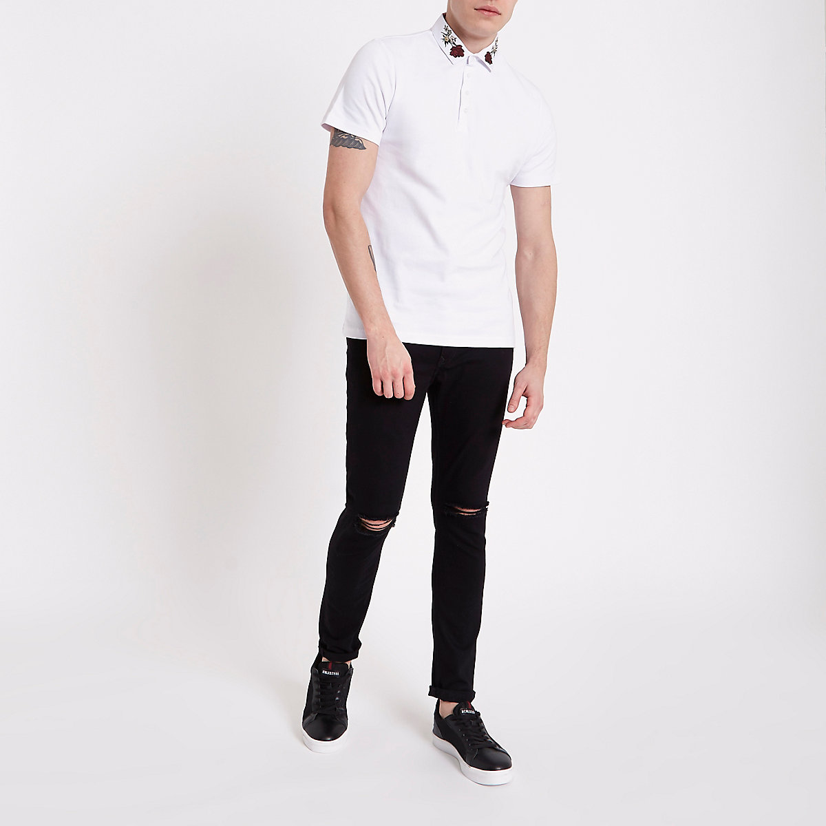 White slim fit rose embroidered polo shirt