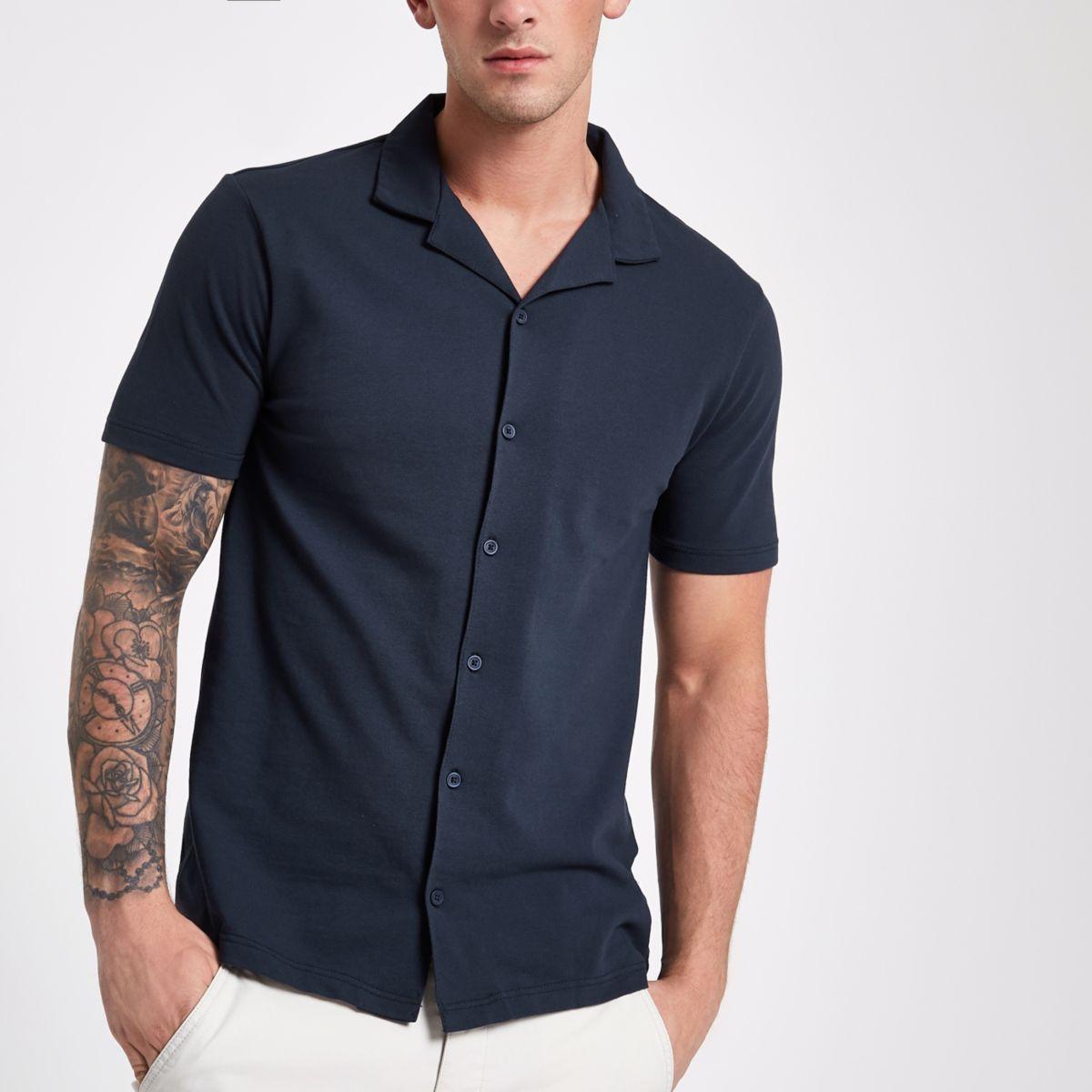 Navy pique short sleeve slim fit revere shirt