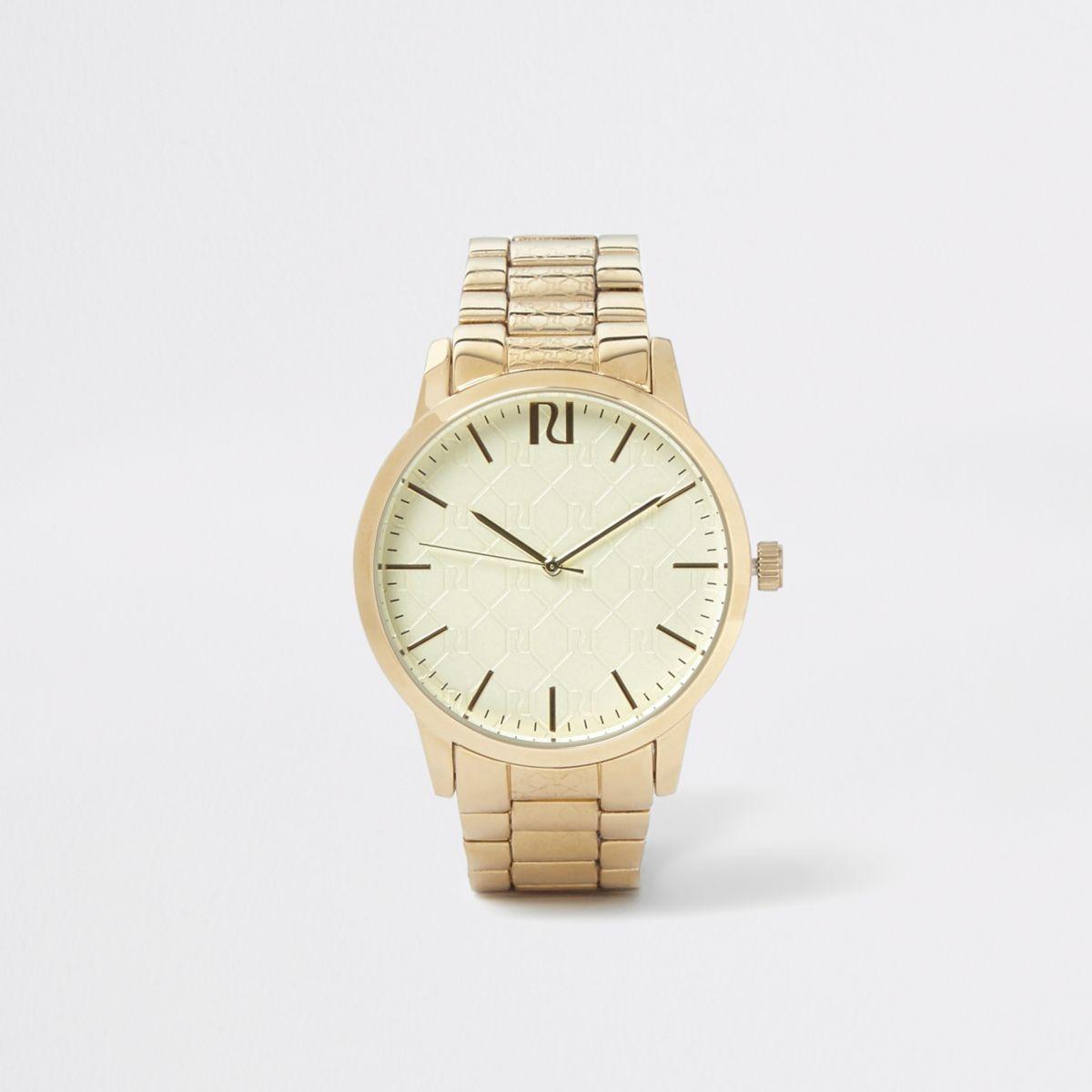 Gold tone RI monogram chain link watch