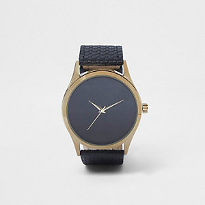 Black RI monogram round face watch