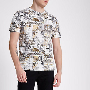 White baroque print muscle fit T-shirt