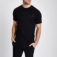 Black 'entitled' embroidered slim fit T-shirt