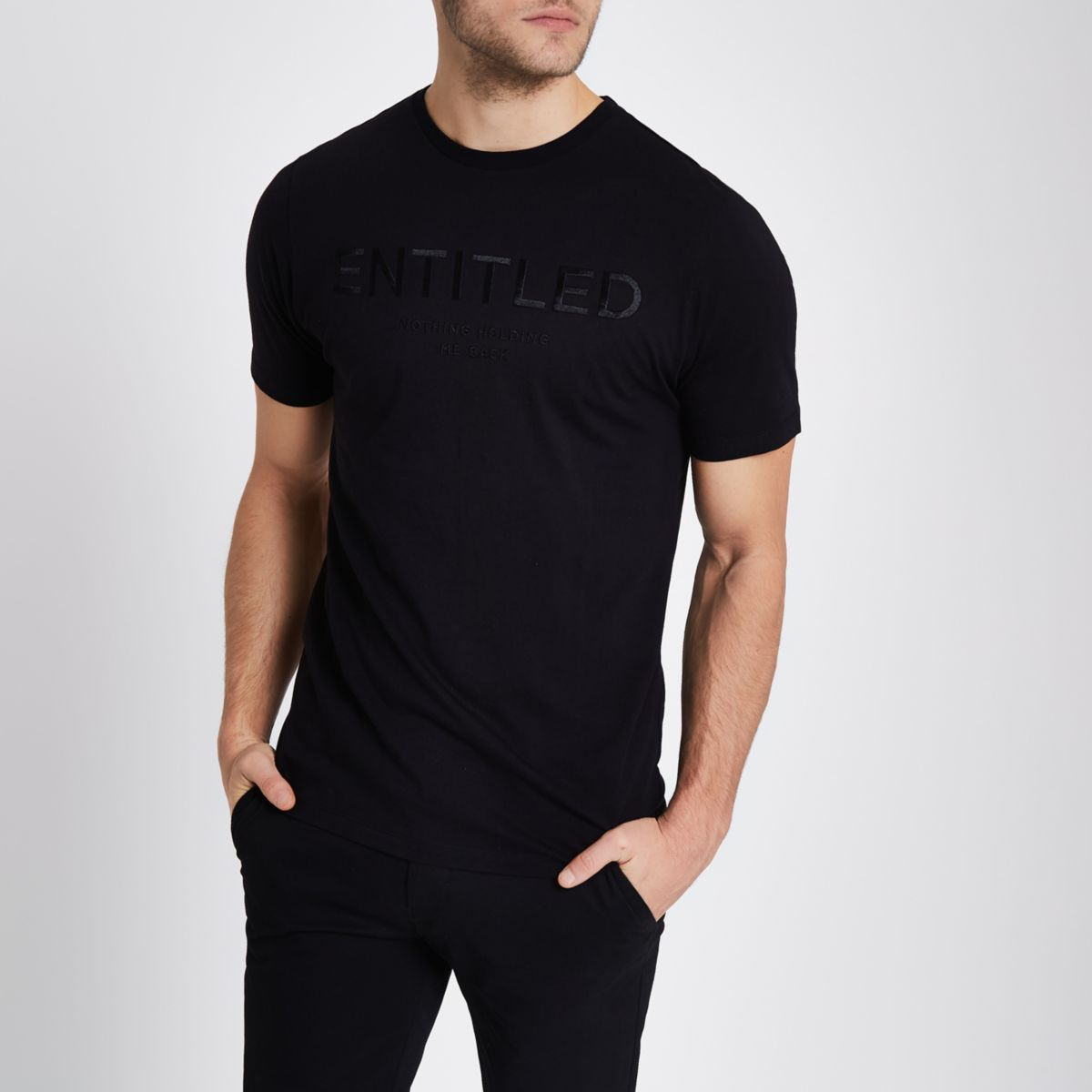 Black 'entitled' embroidered slim fit T-shirt