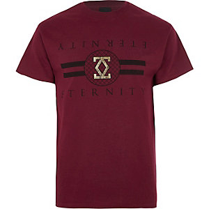 Donkerrood slim-fit T-shirt met 'eternity'-print