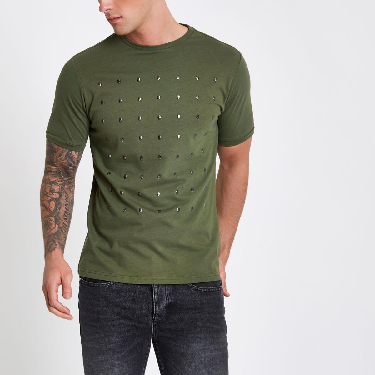 Khaki green slim fit skull studded T-shirt