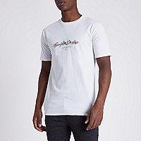 White 'carpe noctum' floral slim fit T-shirt