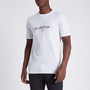 White 'carpe noctum' floral slim fit T-shirt