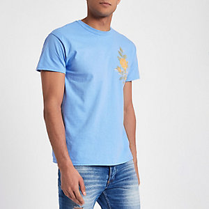 Blue floral embroidery print slim fit T-shirt