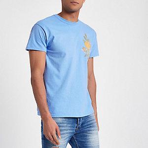 Blauw slim-fit T-shirt met geborduurde roos en print