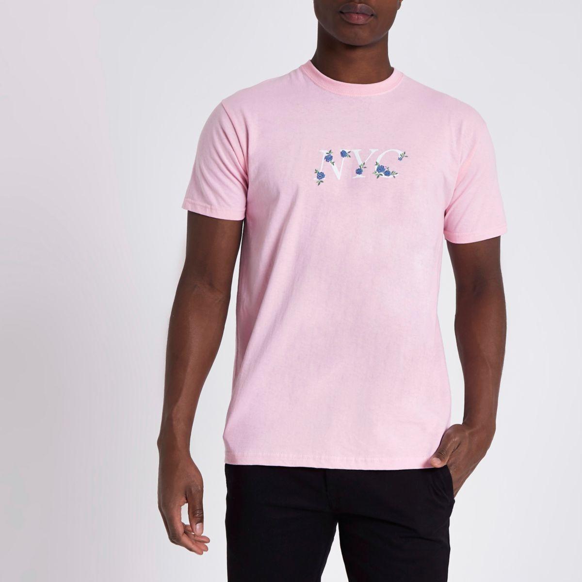 Pink NYC floral print T-shirt