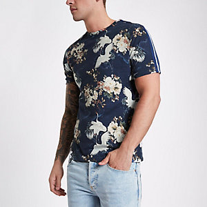 Blue floral bird print tape slim fit T-shirt