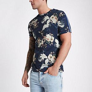 Blauw slim-fit T-shirt met bloemen- en vogelprint