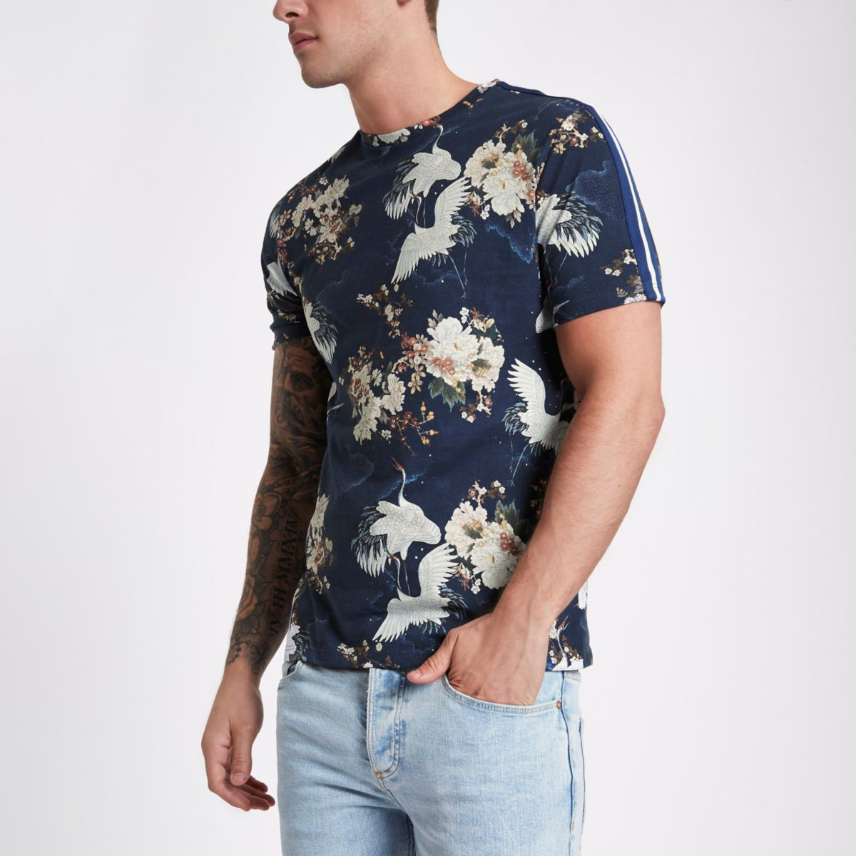 Blaues Slim Fit T-Shirt mit Vogelprint