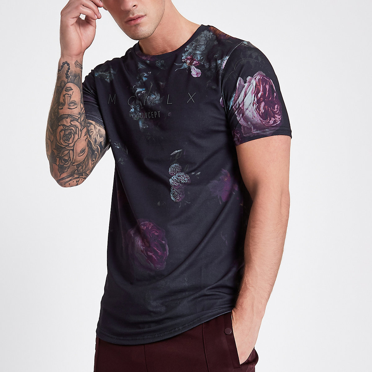 Concept dark blue floral slim fit T-shirt