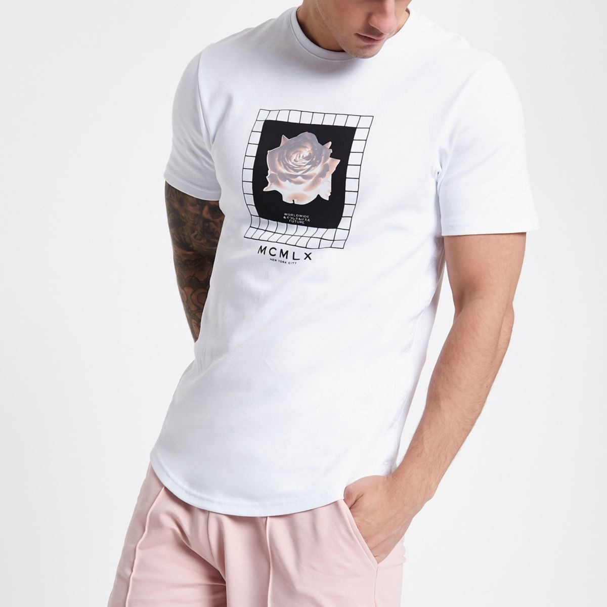 Concept white floral slim fit T-shirt