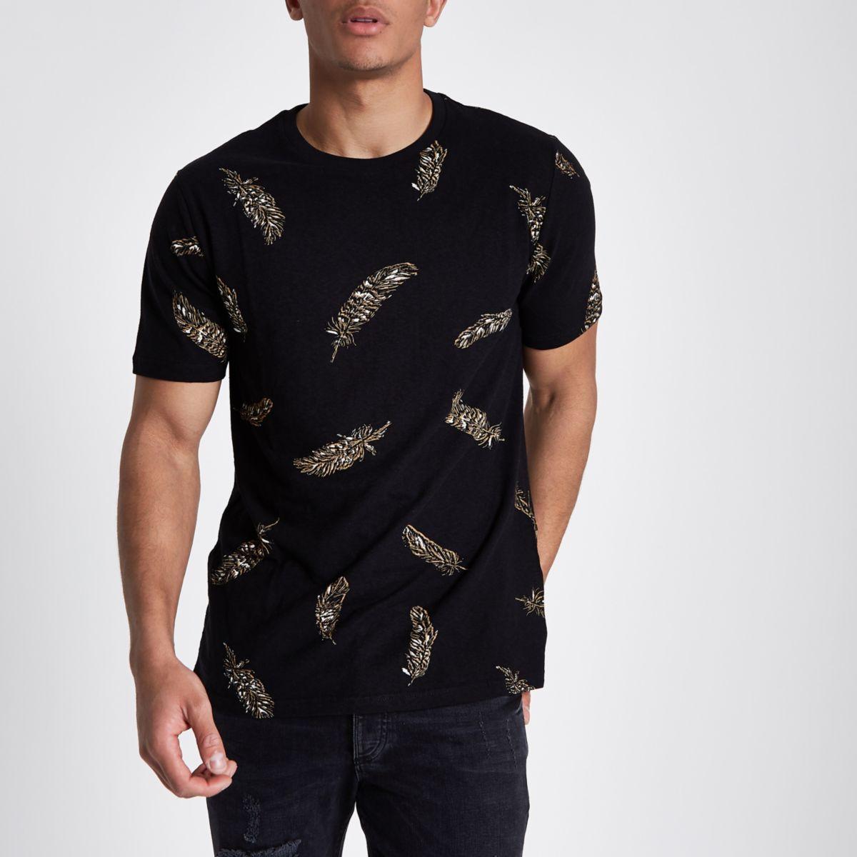 Black slim fit feather print crew T-shirt