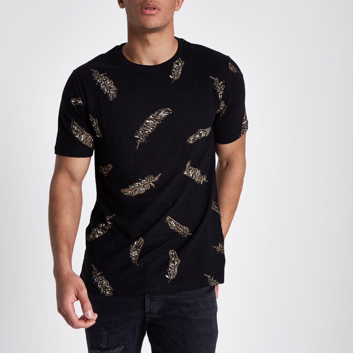 Black slim fit feather print crew T-shirt