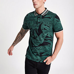 Grünes Muscle Fit Jacquard-Poloshirt
