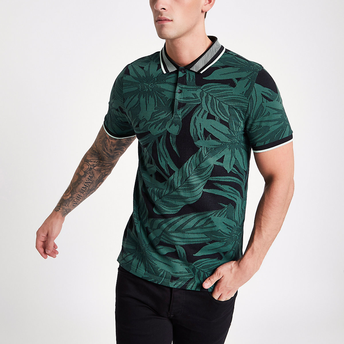 Green floral jacquard muscle fit polo shirt