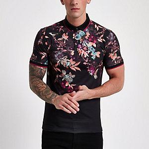 Schwarzes Muscle Fit Poloshirt mit orientalischem Print
