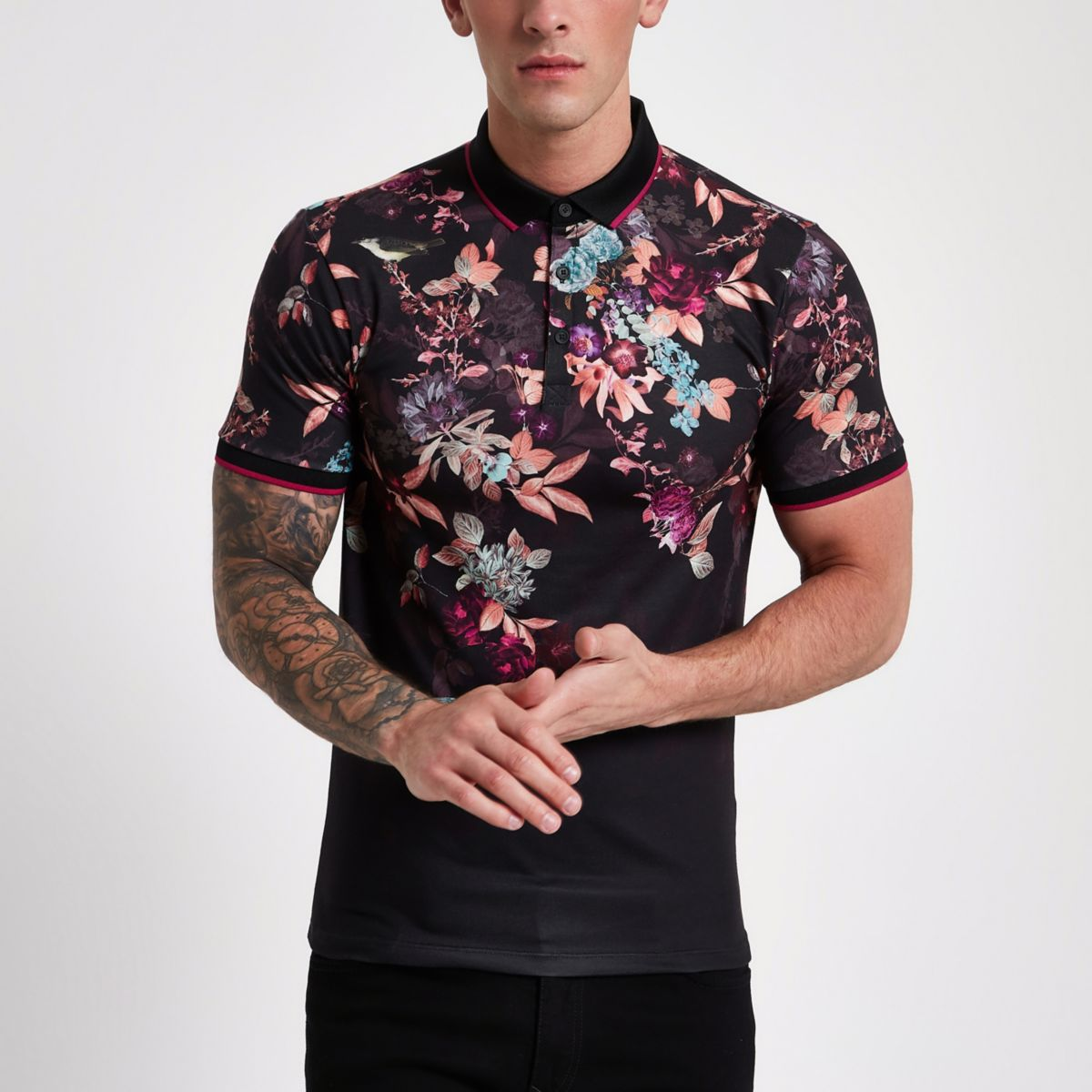 Black oriental print muscle fit polo shirt
