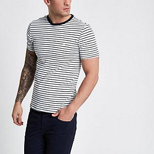 T-shirt ajusté ras-du-cou rayé blanc
