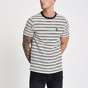 T-shirt écru rayé ras de cou avec imprimé
